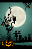 Halloween night in graveyard Royalty Free Stock Image
