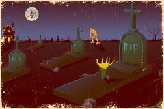 Halloween Night in Graveyard Stock Photo