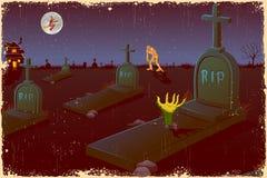 Halloween Night in Graveyard Stock Photo