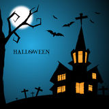 Halloween Night Greeting Card With Castle, Bats, tree and grave Stock Photos