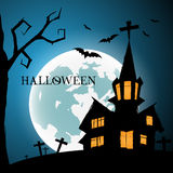 Halloween Night Greeting Card With Castle, Bats, tree and grave Stock Image