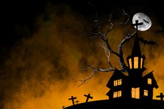 Halloween Night Greeting Card With Castle, Bats, tree and grave with fog smoke Background Stock Photo