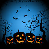 Halloween night with grinning pumpkins on blue background Stock Photos