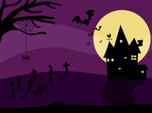 Halloween night with haunted house and bats Stock Image