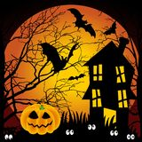 Halloween night haunted house with bats and pumpki vector illustration