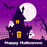 Halloween Night - Haunted House & Ghosts Stock Photo