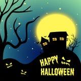 Halloween night with haunted house Stock Photos