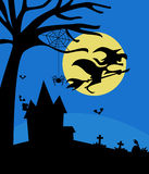 Halloween night with haunted house witch and bats Royalty Free Stock Image