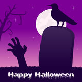 Halloween Night Headstone & Zombie Hand. Happy Halloween night card with a tombstone, a zombie hand, a raven and full moon on a violet sky background. Eps file Stock Photos