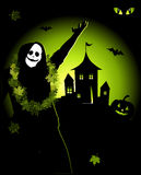 Halloween night holiday, house on hill Royalty Free Stock Photo