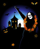 Halloween night holiday, house on hill. Vector illustration Royalty Free Stock Images