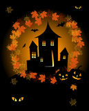 Halloween night holiday, house on hill. Vector illustration Royalty Free Stock Photo