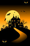 Halloween night holiday, house on hill Stock Photography