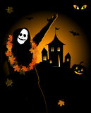 Halloween night holiday, house on hill Stock Photos