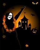 Halloween night holiday, house on hill. Vector illustration Stock Photos