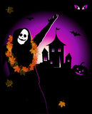 Halloween night holiday, house on hill. Vector Royalty Free Stock Photos