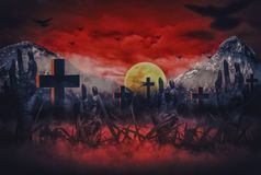 Halloween night horror with zombie hands poking out of hell in cemetery, With blood sky Blood and moon stock illustration