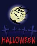 Halloween night illustration. Halloween night with moon and cemetery, vector illustration Stock Photos