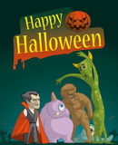 Halloween night. Illustration of Monster group in the halloween night Royalty Free Stock Images