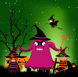 Halloween night and kids costumes Stock Images
