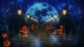 Halloween night landscape with the moon. Pumpkins and streetlights. Mystic road in moonlight. Loop. Celebration theme