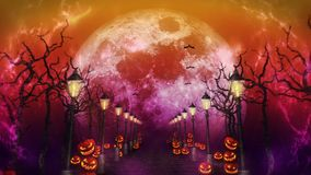 Halloween night landscape with the moon. Pumpkins and streetlights. Mystic road in moonlight. Loop. Celebration theme.