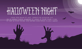 Halloween night landscape with zombie Stock Image
