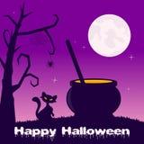Halloween Night - Magic Pot and Black Cat Royalty Free Stock Photos