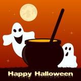 Halloween Night - Magic Pot and Ghosts Stock Photos