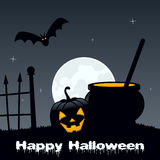 Halloween Night - Magic Pot & Pumpkin Stock Photography