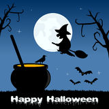 Halloween Night - Magic Pot and Witch Stock Photography