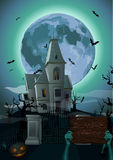 Halloween night: moon beautiful castle chateau zombie hands hold Royalty Free Stock Photography