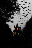 Halloween. Night. Moon, castle and bats. Stock Photography