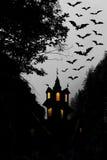 Halloween. Night. Moon, castle and bats. Stock Photography