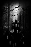 Halloween. Night. Moon, castle and bats. Stock Photo