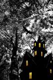 Halloween. Night. Moon, castle and bird. Stock Images