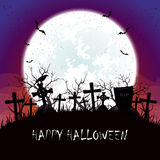 Halloween night with Moon at the cemetery Royalty Free Stock Photos