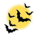 Halloween night moon horror bat background vector Royalty Free Stock Photos