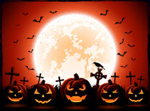 Halloween night with Moon and pumpkins Royalty Free Stock Image