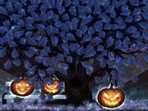 Halloween night oak Royalty Free Stock Photos