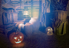 Halloween Night on an old farm. Halloween. Pumpkin, skull, lamp, bat are located on an old farm Stock Photos