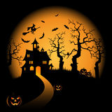 Halloween night orange background with witch and pumpkins castle Royalty Free Stock Photo