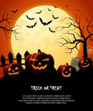 Halloween night orange trick or treat background with pumpkins and moon Stock Photo