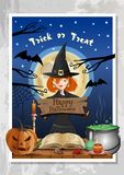 Halloween night party banner with funny cute witch vector illustration