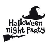 Halloween night party. Halloween theme. Handdrawn lettering phrase with witch hat. Design element for Halloween. Vector Stock Images