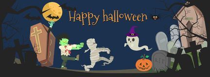 Halloween night party  illustration with ghost cartoon character Royalty Free Stock Photo
