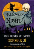 Halloween holiday party spooky night vector poster Royalty Free Stock Photography