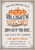 Halloween Night Party Invitation with scary pumpkins design. Royalty Free Stock Photography