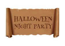 Halloween night party - text on scroll ribbon royalty free illustration