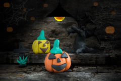 Halloween night  with plasticine on the dim light  background Stock Photography
